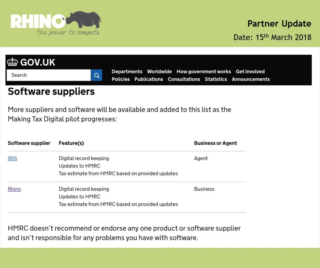 HMRC Software Suppliers